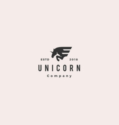 Horse wing unicorn logo hipster retro vintage icon vector