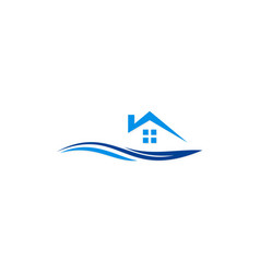 house beach resort logo vector image