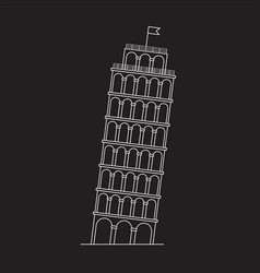 Leaning tower pisa italy line icon vector