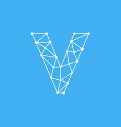 logo letter v dots lines vector image