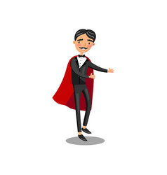 Male magician character in black suit and red cape vector