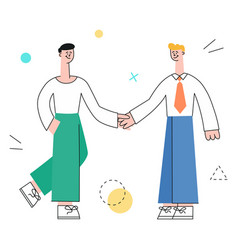 men colleagues shaking hands vector image