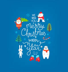 Merry christmas and happy new year cartoon style vector