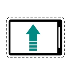 Mobile phone upload arrow gadget cut line vector