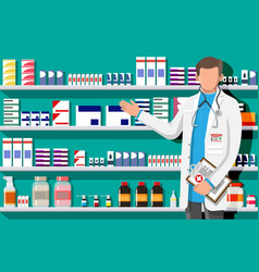 Modern interior pharmacy and male pharmacist vector