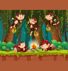 Monkey at the wild forest vector