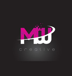 mw m w creative letters design with white pink vector image