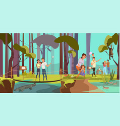 Natural reserve excursion flat vector
