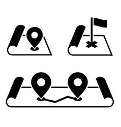 Navigation Pin on Map Icons Set vector image