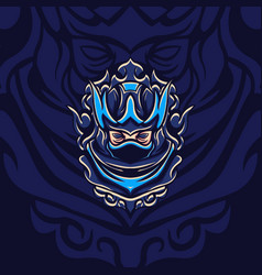 New blue shadow assassin mascot vector
