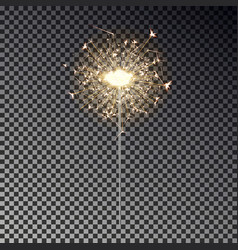 new year sparkler isolated on transparent backgrou vector image