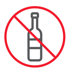 no alcohol line icon prohibition and forbidden vector image