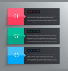 Options infographic design with three steps vector