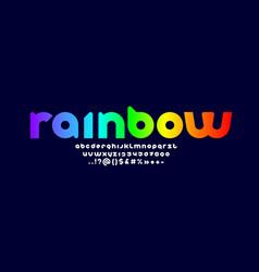 Original multi color alphabet rounded bright font vector