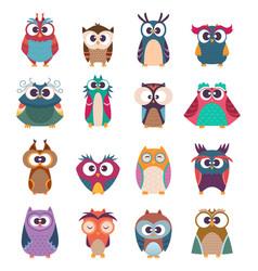 Owl kids cute baby birds in various poses vector