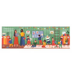 panorama banner diverse young kindergarten kids vector image