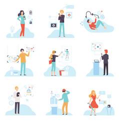 people using hi tech technologies set smartphones vector image