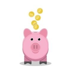 Piggy bank with gold coins Toy pink pig money box vector image