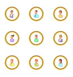 portrait icons set cartoon style vector image
