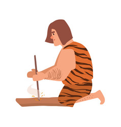 primitive archaic man or caveman dressed in skin vector image