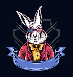 rabbits use american glasses vector image
