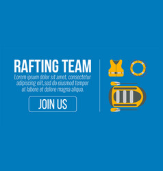 Rafting banner tourism equipment and web elements vector