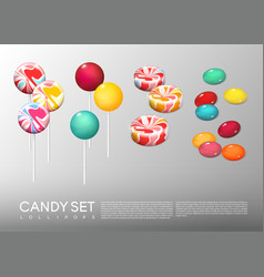 realistic bright round candies set vector image vector image