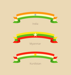 Ribbon with flag of india myanmar and kurdistan vector
