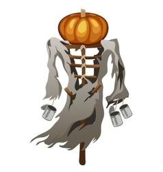 Scarecrow with pumpkin head symbol halloween vector