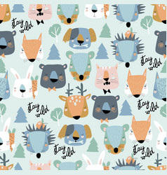 seamless pattern cute animals heads on blue vector image