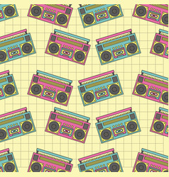 Seamless pattern tape recorder 90s device music vector