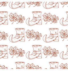 Seamless pattern with shoes leprechaun vector
