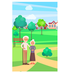 senior couple standing on path at park in summer vector image