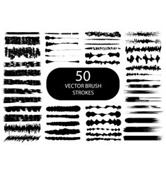 Set of 50 artistic brush strokes vector image