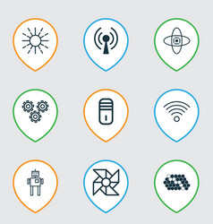 set of 9 robotics icons includes wireless vector image