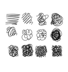 set of hand drawn scribble symbols isolated on vector image