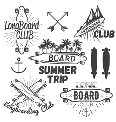 Set of longboard skateboard emblems labels vector
