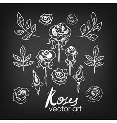 Set of Vintage Floral Hand-Sketched Elements vector image