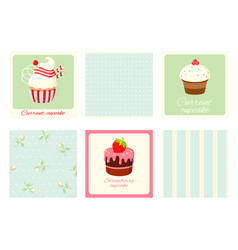 set vintage square cards with cupcakes and vector image