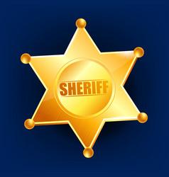 sheriff badge golden star officer icon vector image