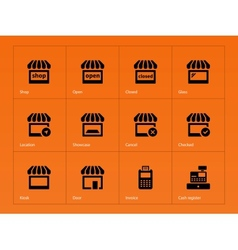 shop icons on orange background vector image