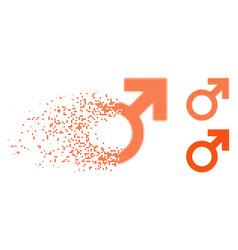 Shredded dot halftone male symbol icon vector