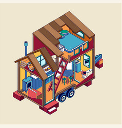 Small tiny house modern mobile trailers vector