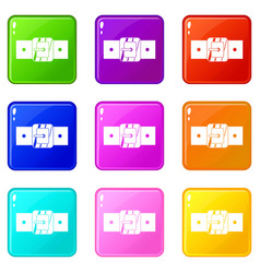 Square belt buckle set 9 vector