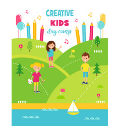 Summer creative art camp for kids poster template vector