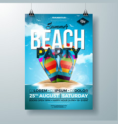 Summer party flyer design with colorful vector