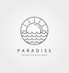 Sun wave logo symbol design vector