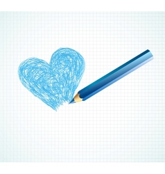 The blue heart not finished by a pencil vector