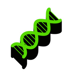 the dna sign green 3d icon with black vector image
