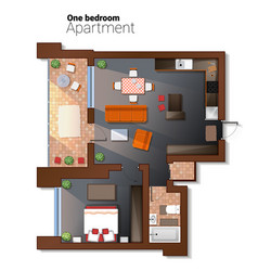 Top view of modern one bedroom vector